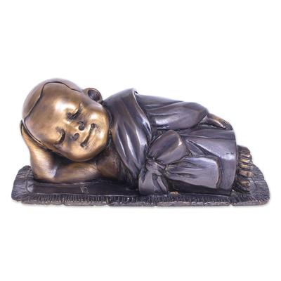 Hand-Painted Brass Monk Sculpture