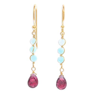 Gold-Plated Amazonite and Garnet Dangle Earrings