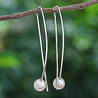 Cultured pearl drop earrings, 'Light and Grace' - Artisan Crafted Cultured Pearl and Sterling Silver Earrings