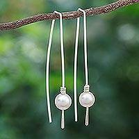 Cultured pearl drop earrings, 'Sea Prize' - Cultured Freshwater Pearl and Sterling Silver Earrings