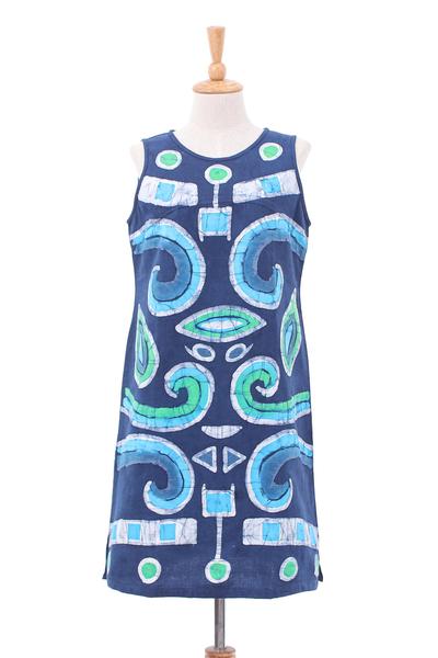 Batik and Tie-Dyed Graphic Cotton Sheath Dress