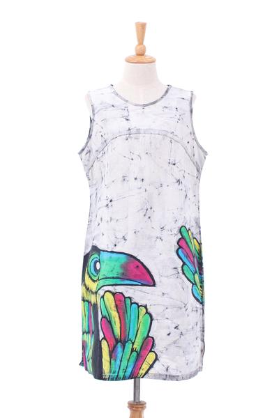 Batik and Tie-Dyed Toucan Cotton Sheath Dress