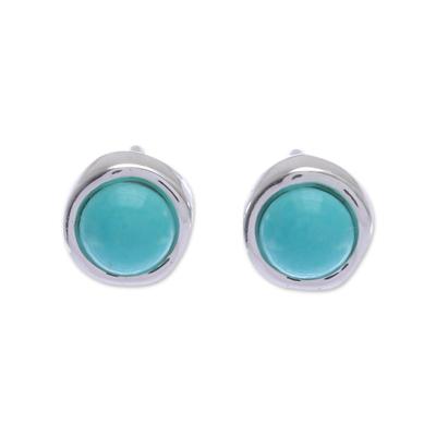 Gibbsite stud earrings, 'Delicate Moon' - Handmade Sterling Silver and Gibbsite Stud Earrings