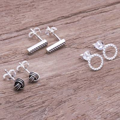 Sterling silver stud earrings, 'Early Riser' (set of 3) - Handcrafted Sterling Silver Stud Earrings (Set of 3)