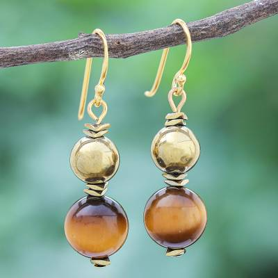 Gold-plated tiger's eye and hematite dangle earrings, 'Tiger Charm' - Gold-Plated Tiger's Eye and Hematite Dangle Earrings