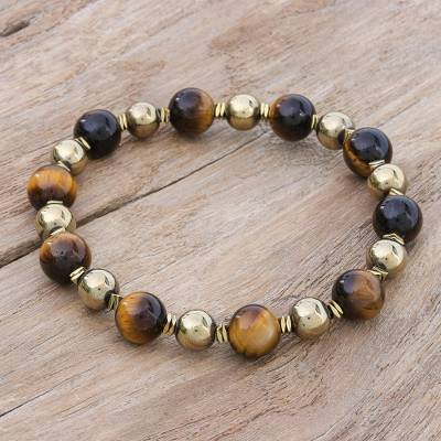 Tigers eye and hematite beaded stretch bracelet, Tiger Charm