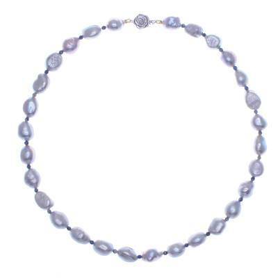 Cultured pearl and lapis lazuli beaded necklace, 'Sea Journey in Blue' - Cultured Freshwater Pearl and Lapis Lazuli Beaded Necklace