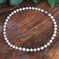Cultured pearl and agate beaded necklace, 'Sea Catch in Orange' - Cultured Freshwater Pearl and Agate Beaded Necklace
