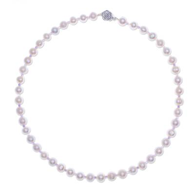 Cultured pearl and amethyst beaded necklace, 'Sea Catch in Purple' - Cultured Freshwater Pearl and Amethyst Beaded Necklace