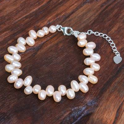 Cultured pearl bracelet, 'Sea Breath in Peach' - Sterling Silver and Cultured Freshwater Pearl Bracelet