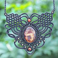 Agate macrame necklace, 'Mystic Sunset' - Agate, Brass Beads and Macrame Necklace From Thailand