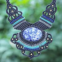 Macrame sodalite pendant necklace, 'Boho Star' - Macrame Sodalite and Brass Bead Pendant Necklace