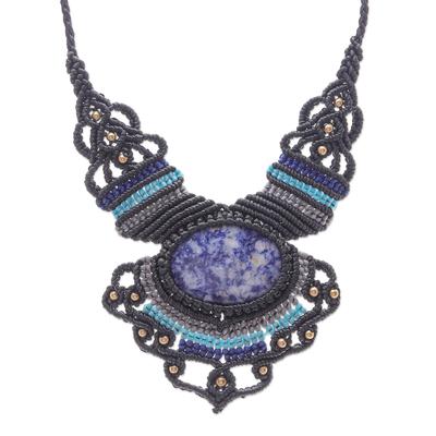 Macrame sodalite pendant necklace, 'Boho Star' - Macrame Sodalite and Brass Bead Pendant Necklace