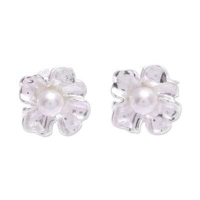 Sterling Silver and Cultured Pearl Stud Earrings
