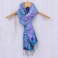 Tie-dyed silk scarf, 'Candy Sea'