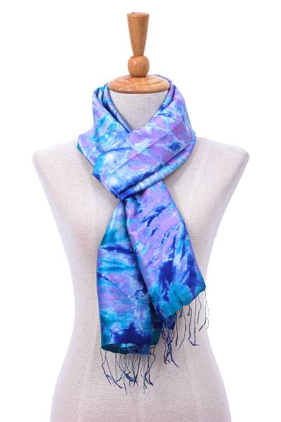 Tie-dyed silk scarf, 'Candy Sea' - Hand Crafted Tie-Dyed Silk Scarf