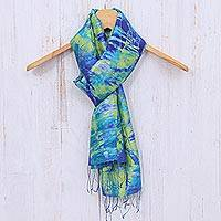Tie-dyed silk scarf, 'Smiling Sea' - Fringed Tie-Dyed Silk Scarf