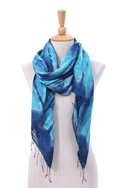 Batik silk scarf, 'Ocean Delight' - Batik Printed Silk Scarf