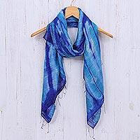 Batik silk scarf, 'Summer Ocean' - Batik Printed Blue Silk Scarf