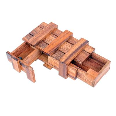 Wood puzzle, 'Double Magic' - Hand Made Raintree Wood Puzzle Game
