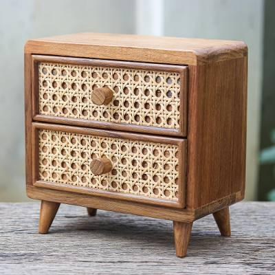 Teak wood and natural fiber jewelry box, Timeless Touch