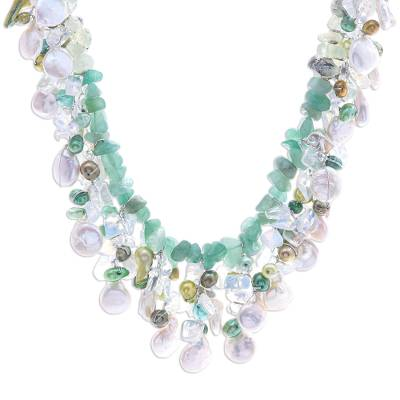 Rainbow Moonstone and Cultured Pearl Waterfall Necklace