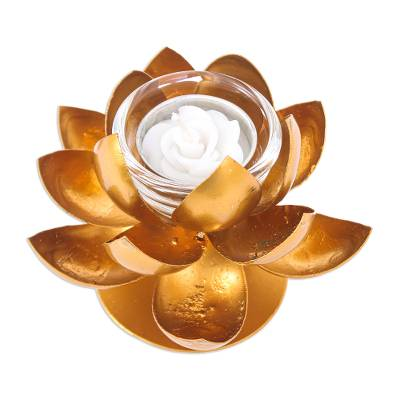 Steel and Gold Foil Lotus Tealight Holder