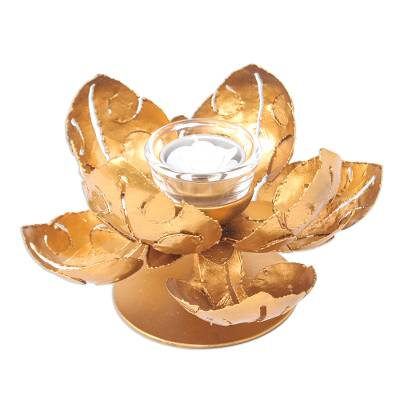 Hand Cut Steel and Gold Foil Lotus Tealight Holder