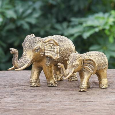 Brass sculptures, 'Royal Parade' (set of 2) - Hand Made Brass Elephant Sculptures (Set of 2)