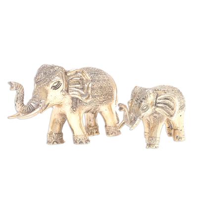 Hand Made Brass Elephant Sculptures (Set of 2)