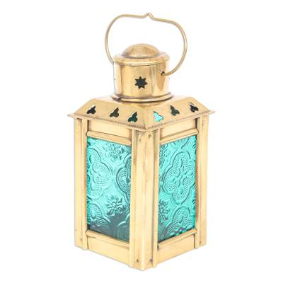 Green Pressed Glass and Brass Tealight Holder