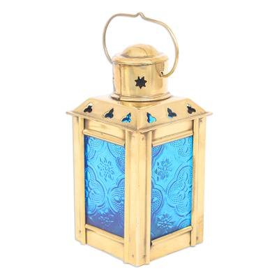 Blue Pressed Glass and Brass Tealight Holder