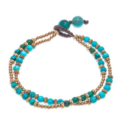 Calcite and serpentine beaded bracelet, 'Carnival in Green' - Handmade Calcite and Serpentine Beaded Bracelet