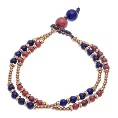 Jasper and lapis lazuli beaded bracelet, 'Carnival in Blue' - Jasper and Lapis Lazuli Beaded Bracelet