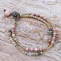 Agate beaded bracelet, 'Carnival in Pink' - Handmade Agate and Brass Beaded Bracelet