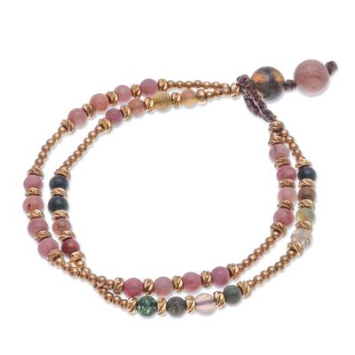 Handmade Agate and Brass Beaded Bracelet