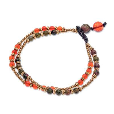 Carnelian and unakite beaded bracelet, 'Carnival in Orange' - Carnelian and Unakite Beaded Bracelet