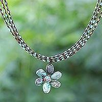 Multi-gemstone macrame pendant necklace, 'Underground Flower' - Jasper and Howlite Floral Pendant Necklace