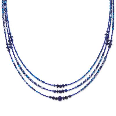 Macrame Lapis Lazuli and Howlite Beaded Necklace