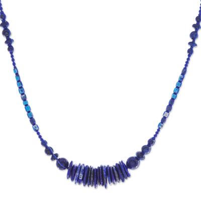 Macrame Lapis Lazuli and Howlite Pendant Necklace