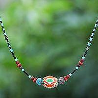 Multi-gemstone macrame pendant necklace, 'Rainbow Dreams' - Jasper and Calcite Beaded Pendant Necklace
