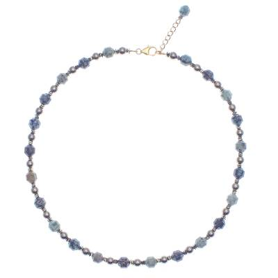 Gold-Accented Hematite Beaded Necklace