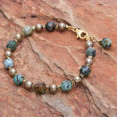 Gold-accented hematite beaded bracelet, 'Bright Globe' - Gold-Accented Hematite Beaded Bracelet