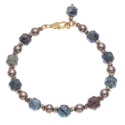 Gold-Accented Hematite Beaded Bracelet