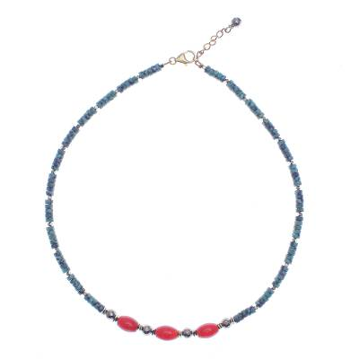 Gold-Accented Hematite and Carnelian Beaded Necklace