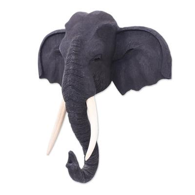 Black Teak Wood Elephant Sculpture