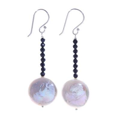 Cultured Pearl and Spinel Dangle Earrings