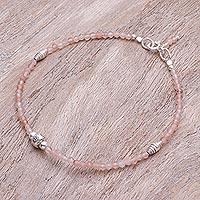 Sunstone beaded bracelet, 'Good Vibrations in Pink' - Handmade Sunstone and Silver Beaded Bracelet