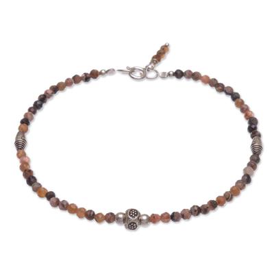 Rhodochrosite beaded bracelet, 'Good Vibrations in Orange' - Handmade Rhodochrosite and Silver Beaded Bracelet