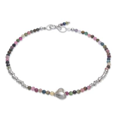 Tourmaline beaded bracelet, 'Love Language in Green' - Tourmaline and Silver Beaded Heart Bracelet